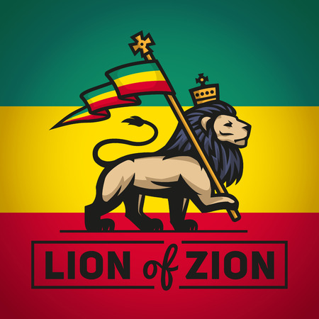 LEONES: León Judá con una bandera rastafari. Rey de Sión ilustración. Diseño de la música del vector Reggae.