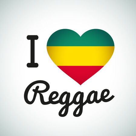 rasta: I love Reggae Heart illustration, Jamaican music logo design. African flag print Illustration