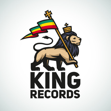 dub: Judah lion with a rastafari flag. King of Zion illustration. Reggae music vector design.