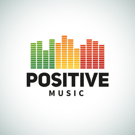 love music: Reggae music equalizer logo emblem vector design. Positive dub illustration. Illustration