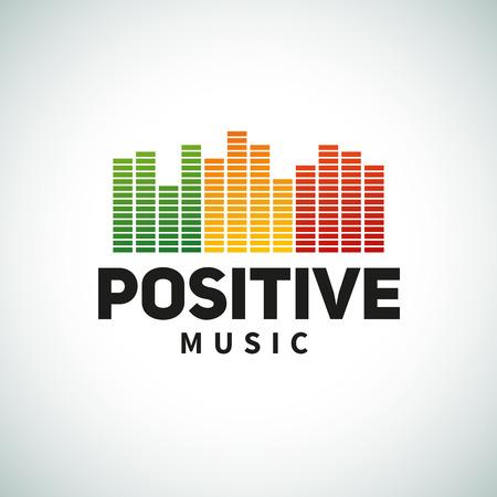 Reggae music equalizer logo emblem vector design. Positive dub illustration. Stock Illustratie