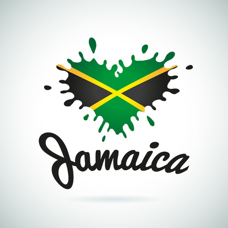 Love Jamaica lettering Heart illustration, carribean music   design. African flag print.