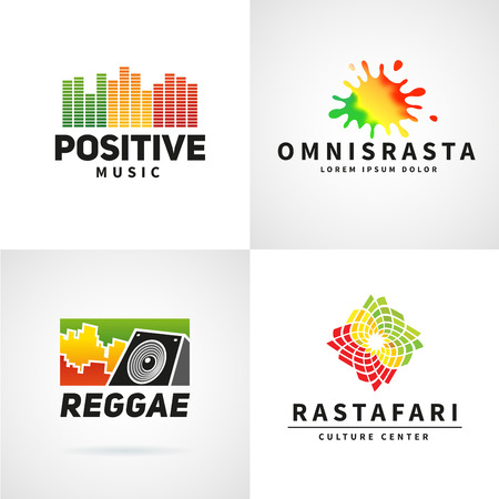 afro caribbean: Set of positive africa ephiopia flag logo design. Jamaica reggae dance music vector template. Colorful speaker company concept.