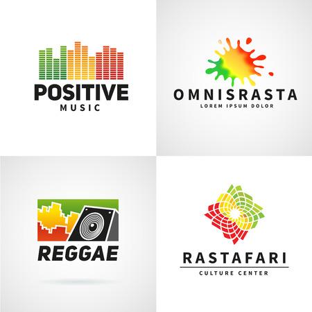 rastaman: Set of positive africa ephiopia flag logo design. Jamaica reggae dance music vector template. Colorful speaker company concept.