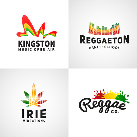 culture: Set of positive ephiopia flag . Jamaica reggaeton dance music vector template. African culture print design. Colorful  company concept.