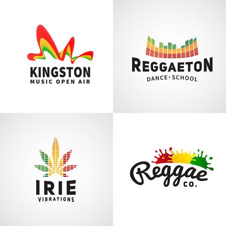 rastaman: Set of positive ephiopia flag . Jamaica reggaeton dance music vector template. African culture print design. Colorful  company concept.