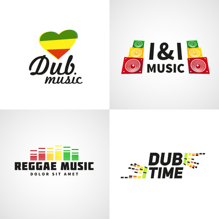 jah: Set of africa flag  design. Jamaica dub music vector template. Colorful dub time company concept. Illustration