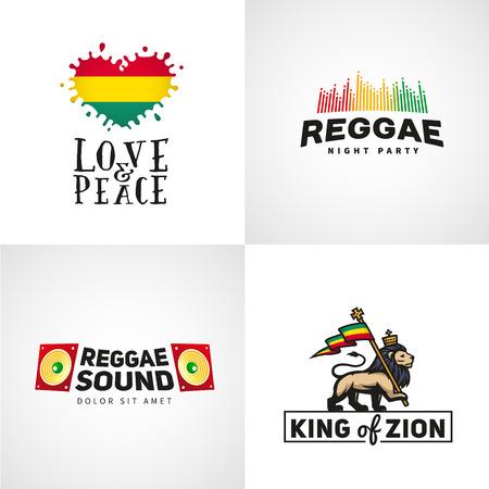 rey: Conjunto de diseño vectorial de la música reggae. El amor y el concepto de la paz. León Judá con una bandera rastafari. Rey de Sión ilustración Vectores