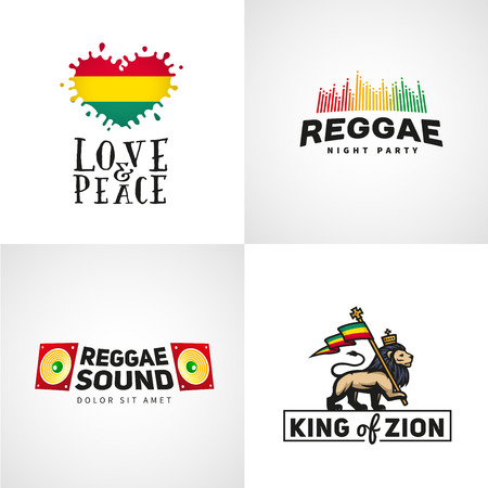 haile: Set of reggae music vector design. Love and peace concept. Judah lion with a rastafari flag. King of Zion  illustration
