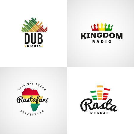 jah: Set of african rastafari sound vector  designs. Jamaica reggae music template. Colorful dub concept.