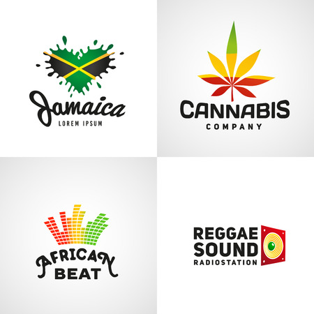 dub: Set of african rasta beat vector logo designs. Jamaica reggae music template. Colorful cannabis company concept.