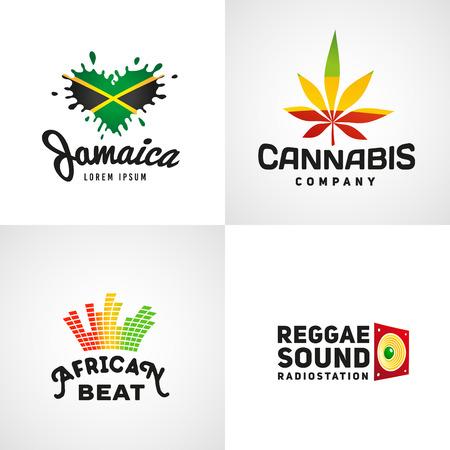Set of african rasta beat vector logo designs. Jamaica reggae music template. Colorful cannabis company concept.
