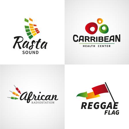 reggae: Ensemble de rastafari africain sonore dessins vectoriels. Jama�que mod�le de la musique reggae. Concept de dub color�. Illustration