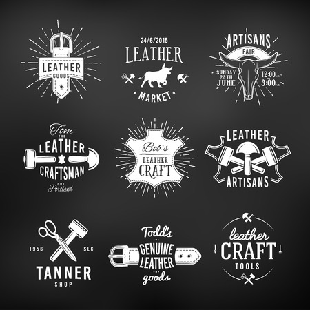 leather: Set of leather craft logo designs, retro genuine vintage tool labels. artisans market insignia vector illustration on dark background.