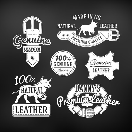 leather background: Set of leather quality goods vector designs. Vintage belt logo, retro labels. genuine leather illustration on dark background.