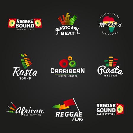아프리카 Rastafari 그 자식 사운드 벡터 로고 디자인의 설정. 자메이카 레게 음악 템플릿입니다. 어두운 배경에 화려한 더빙 개념. 일러스트