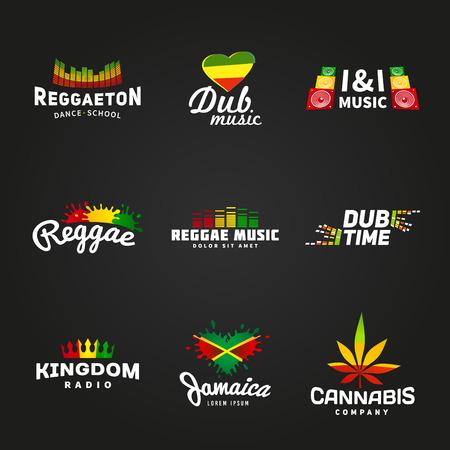 reggae: Ensemble de l'afrique drapeau conception de logo. Jama�que mod�le de vecteur de musique. Colorful concept d'entreprise en temps dub sur fond sombre.