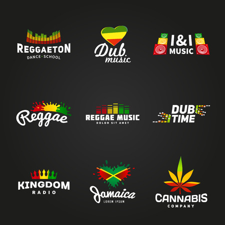 Set of africa flag logo design. Jamaica music vector template. Colorful dub time company concept on dark background. Stock Illustratie