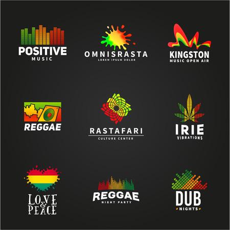 긍정적 인 아프리카 ephiopia 플래그 로고 디자인의 집합입니다. 자메이카 레게 댄스 음악 벡터 템플릿. 어두운 배경에 다채로운 스피커 회사 개념입니다