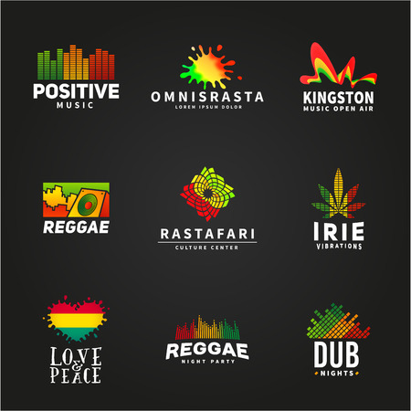 retro music: Set of positive africa ephiopia flag logo design. Jamaica reggae dance music vector template. Colorful speaker company concept on dark background. Illustration