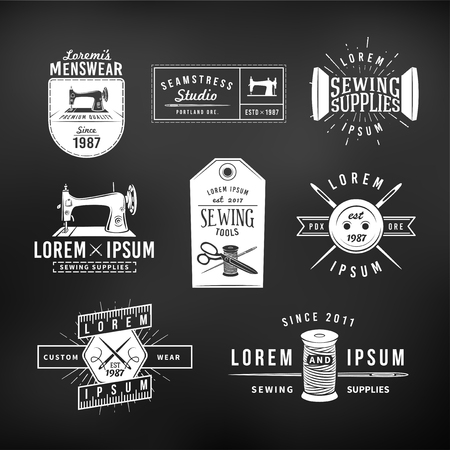 machines: Set of vintage tailor labels, emblems and design elements. Tailor shop logo vector. sewing studio illustration.