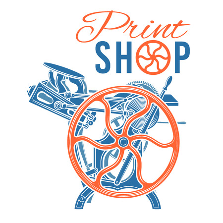 printshop: Letterpress print shop illustration.