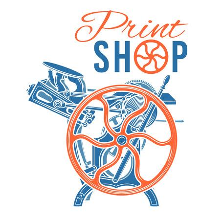 Letterpress print shop illustration.