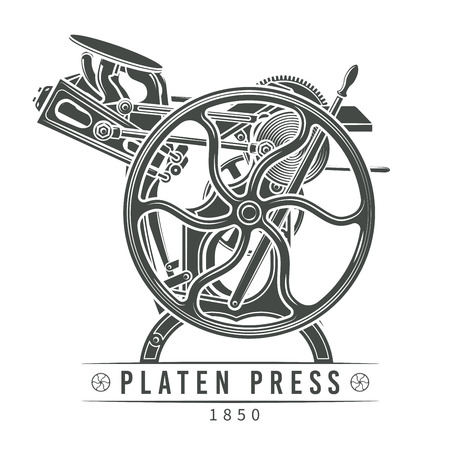 printshop: Platen press illustration.