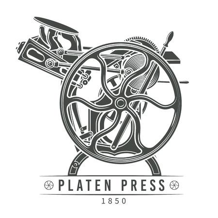 Platen press illustration.