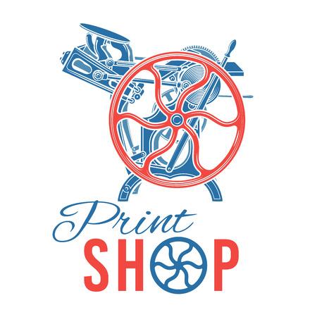 Letterpress print shop illustration. Vettoriali