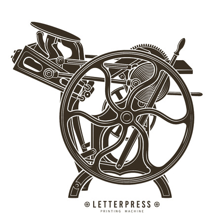 printshop: Letterpress printing machine illustration.