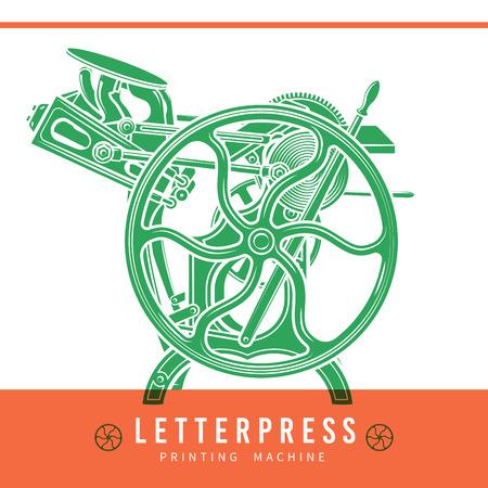 imprenta: La prensa de copiar el diseño de sobreimpresión.