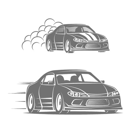 Sport car icon design. Street racing illustration. Drift show elements.