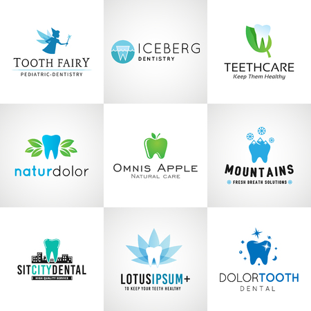dentist: Set of dental. Vector tooth designs. Bright teeth clinic template. Creative health concept. Oral care symbols collection.