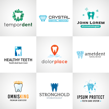Set of dental. Vector tooth designs. Bright teeth clinic template. Creative health concept. Oral care symbols collection  イラスト・ベクター素材