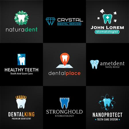 logo medicina: Conjunto de insignias de dientes. Oral colección de símbolos de cuidado. Vector diseños de dientes. Plantilla de la clínica dental brillante. Concepto de salud creativa sobre fondo oscuro.