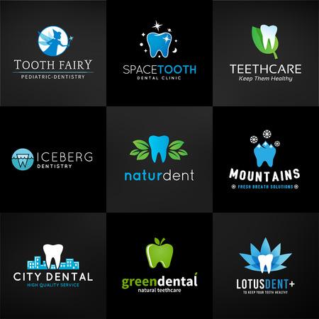 歯科のロゴのセットです。ベクトル歯デザイン。歯医院のテンプレートです。創造的な健康の概念。暗い背景に口腔ケアの記号のコレクション。  イラスト・ベクター素材
