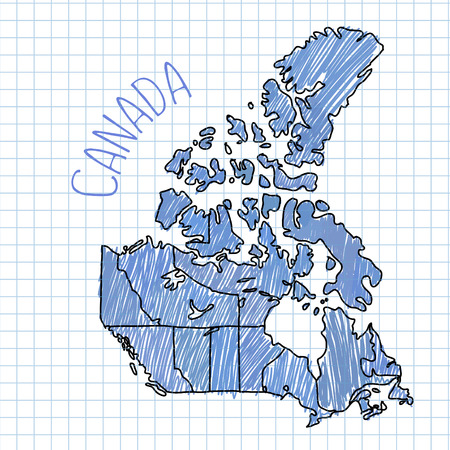 blue pen: Blue pen hand drawn Canada map vector on paper illustration