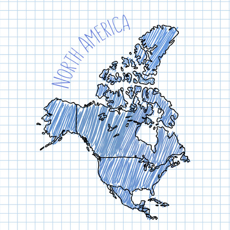 north america map: Blue pen hand drawn North America map vector on paper illustration.