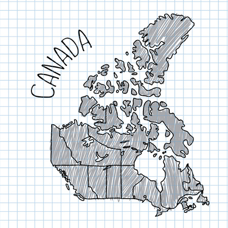 edmonton: Grey and black pen hand drawn Canada map vector on paper illustration. Notebook plaid sheet.