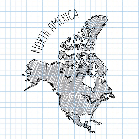 pacific: Pencil hand drawn North America map vector on paper illustration.