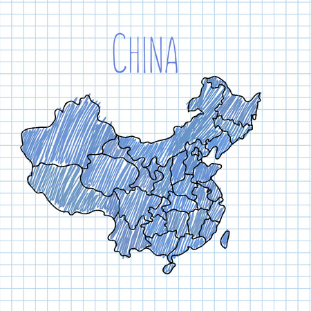 shanghai: Blue pen hand drawn China map vector on paper illustration.