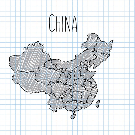 shanghai: Pencil hand drawn China map vector on paper illustration.