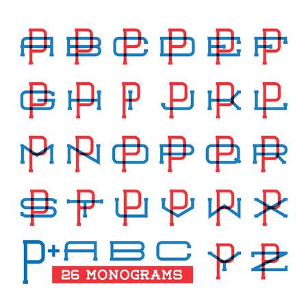 major league: College sport team set. Two overprint letters monogram template. Personal identity design. Wedding names vector illustration