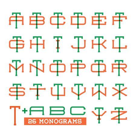 overprint: College sport team set. Two overprint letters monogram template. Personal identity design. Wedding names vector illustration