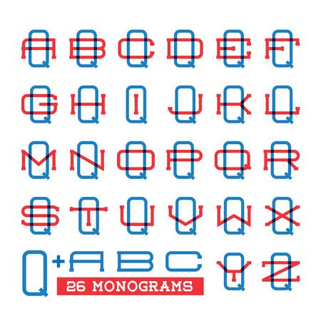 overprint: College sport team logo set. Two overprint letters monogram template. Personal Q identity design. Wedding names vector illustration