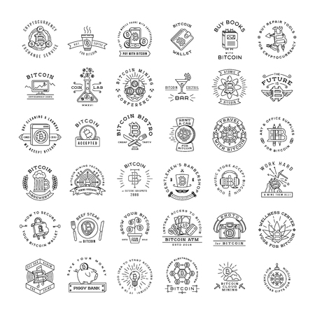 Bitcoin logo templates set. Cryptocurrency badge collection. Digital money icons. Outline coin vector design