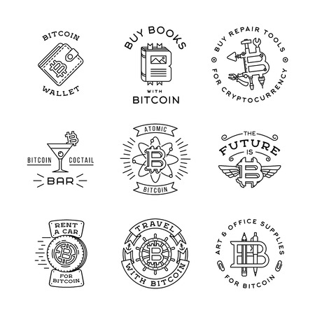 mining ships: Bitcoin logo templates set. Cryptocurrency badge collection. Digital money icons. Outline coin vector design