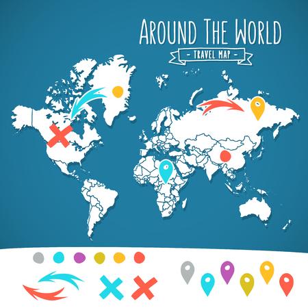 手のピンで描かれた世界地図と矢印ベクター デザイン。漫画イラスト アトラス。世界ポスター周辺旅行します。