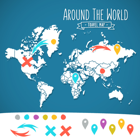 Hand drawn world map with pins and arrows vector design. Cartoon style atlas illustration. Travel around the world poster Ilustrace